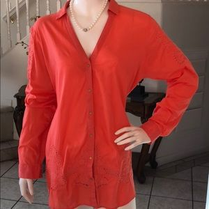 "River Island Coral Eyelet Button 29"" Tunic Size 16"